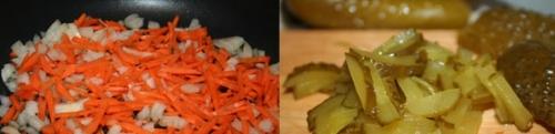 Готуємо пережарку з лука, моркви і огірків