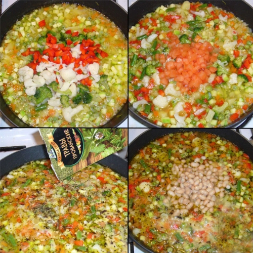 Добвляем овочі в суп.
