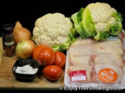 інгредієнти для тушкованої курки з капустою